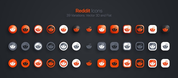 Reddit icons set 3d moderno e piatto in diverse varianti