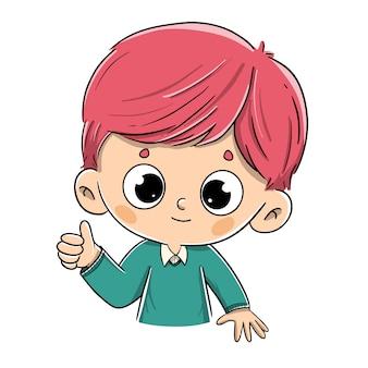 Ragazzo di redhead che dice bene con il pollice