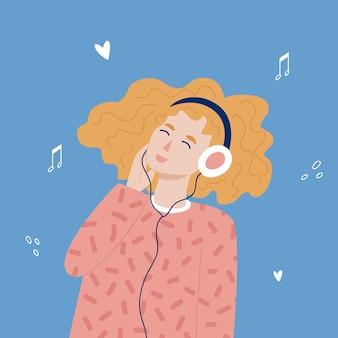 Ragazza adolescente hipster rossa che ascolta la musica con le cuffie. stile disegnato a mano alla moda.