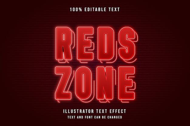 Zona rossa, effetto di testo modificabile 3d. effetto neon