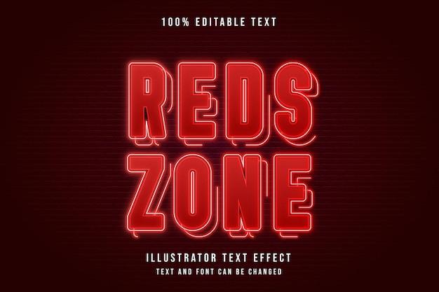 Zona rossa, effetto di testo modificabile 3d effetto neon sfumato rosso