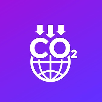 Icona di riduzione delle emissioni di carbonio con il globo