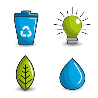 Ridurre, riutilizzare e riciclare l'icona
