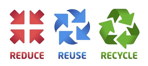 Ridurre il riutilizzo riciclare il set di simboli. icone rosse, blu e verdi su sfondo bianco. collezione