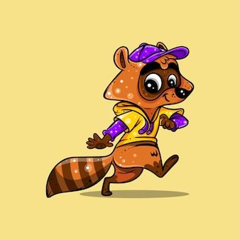 Illustrazione e adesivo reed panda per personaggio icona logo