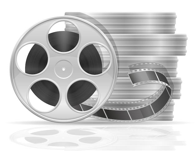 Bobina con illustrazione di film cinematografici isolati su bianco