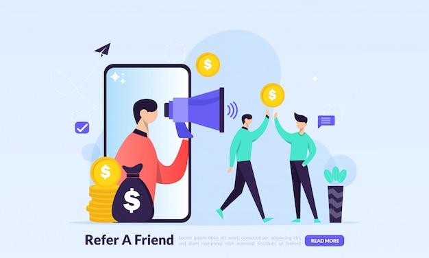 Invia a friend concept, marketing di affiliazione e guadagna denaro