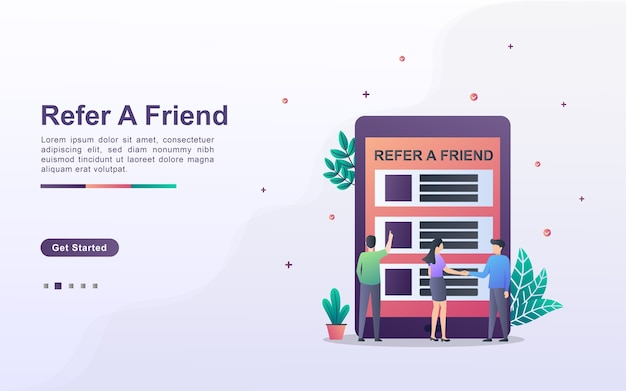 Segnala un concetto di amico. partnership di affiliazione e guadagna denaro. strategia di marketing.