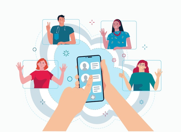 Segnala un concetto di amico mani che tengono il telefono con i contatti degli amici social media