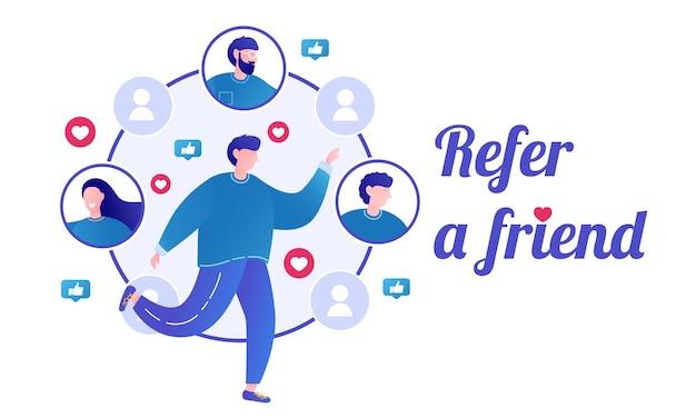 Presenta un concetto di amico programma di referral marketing di riferimento referral amici