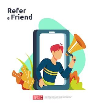 Segnala un concetto di illustrazione di un amico. strategia di marketing di affiliazione. persone personaggio gridare megafono condivisione referral partnership commerciale guadagnare soldi