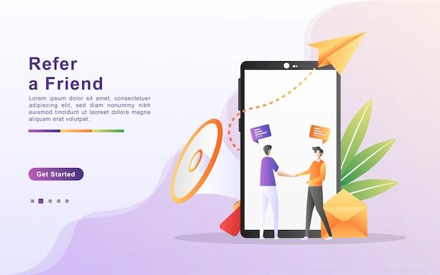 Riferisci un concetto di illustrazione di un amico. le persone condividono informazioni su referral e guadagnano denaro, strategia di marketing, condivisione di attività di referral. design piatto per landing page
