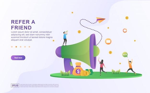 Riferisci un concetto di illustrazione di un amico. le persone condividono informazioni su referral e guadagnano denaro, strategia di marketing, condivisione di attività di referral.