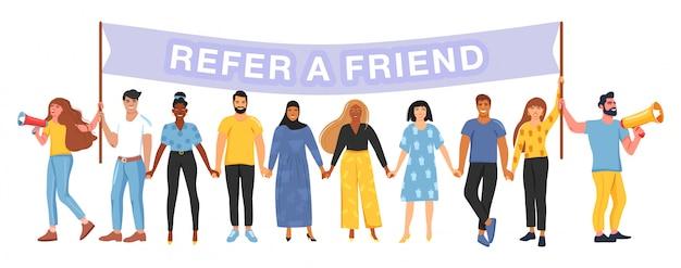 Segnala un amico. concetto di marketing di riferimento.