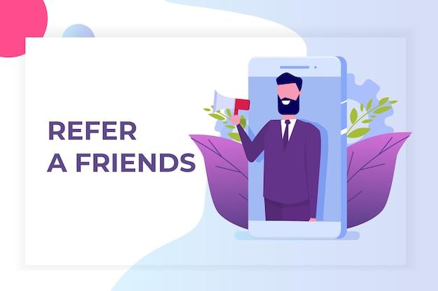 Invita un amico, referral network marketing. consiglia ad un amico. condividi il codice di riferimento l'uomo grida sul megafono.