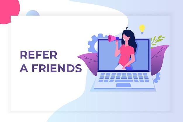 Invita un amico, referral network marketing. consiglia ad un amico. condividi il codice di riferimento le donne gridano al megafono.