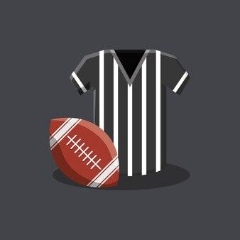 Maglia arbitro e pallone football americano