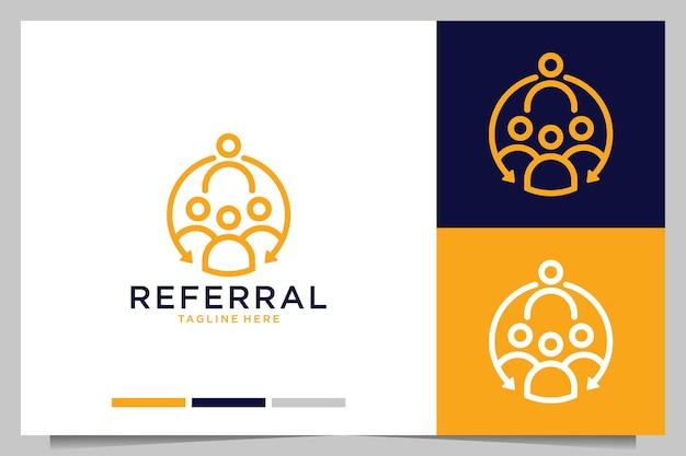Referral company line art logo design