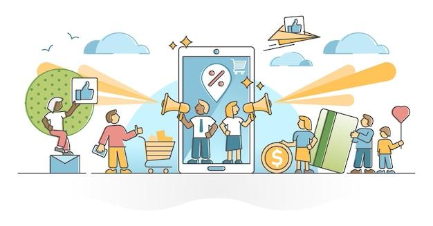 Referral marketing come concetto di contorno di consigli di raccomandazione per influencer del marchio