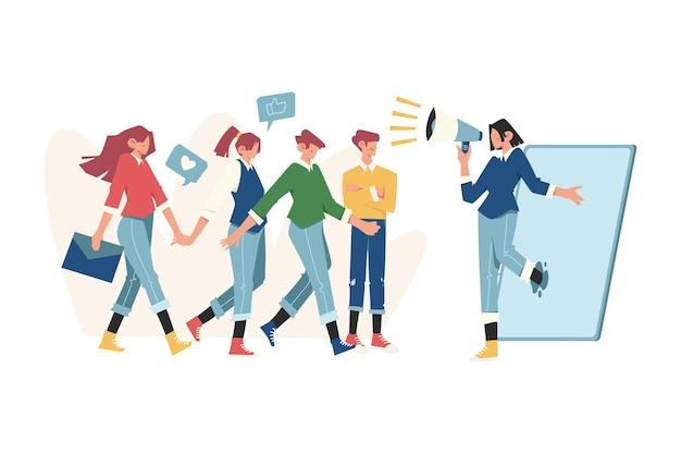 Programma di fidelizzazione degli amici di promozione del concetto di marketing di riferimento