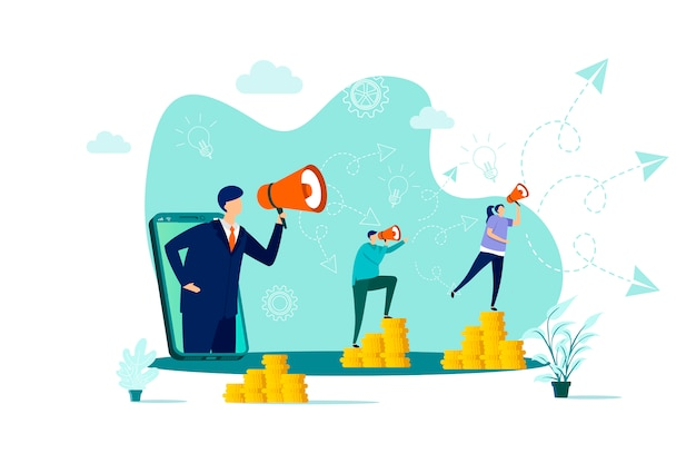 Concetto di marketing referral in stile con personaggi di persone in situazione
