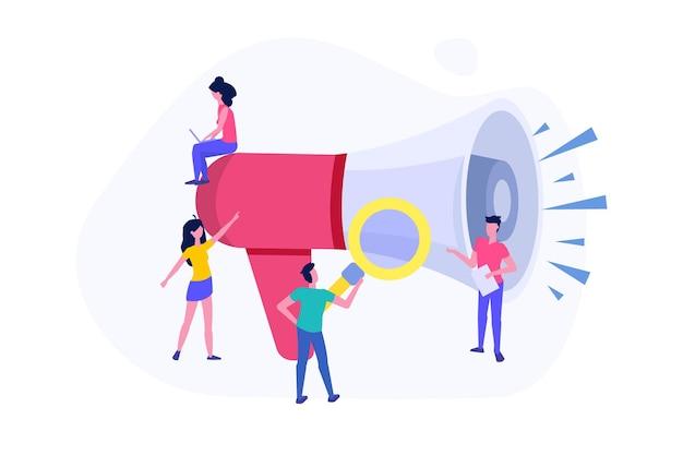 Referral marketing in design piatto