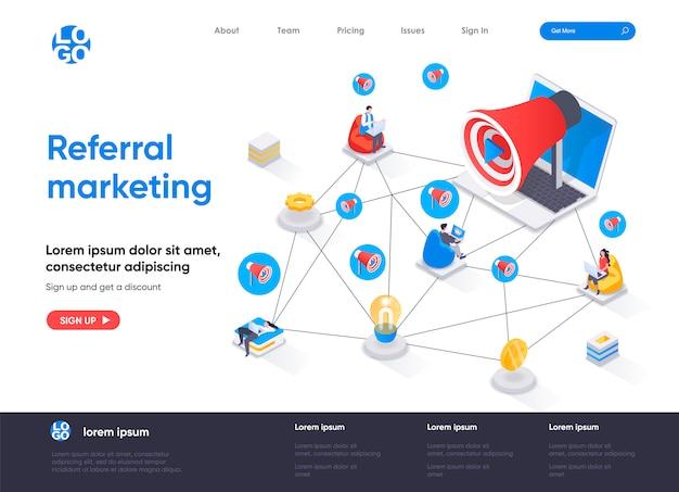 Modello di pagina di destinazione isometrica di referral marketing