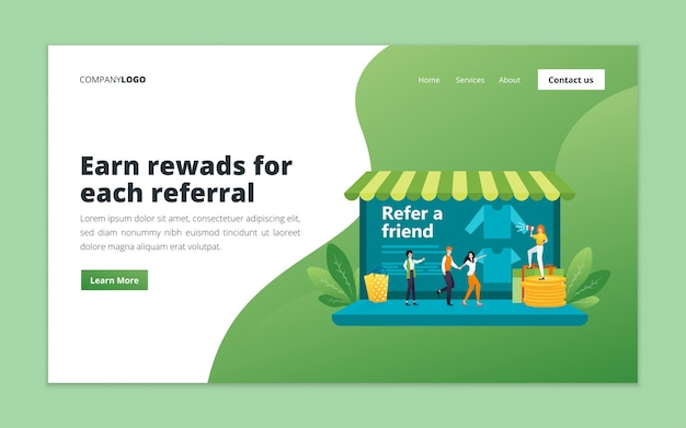 Modello di pagina di destinazione del marketing referral