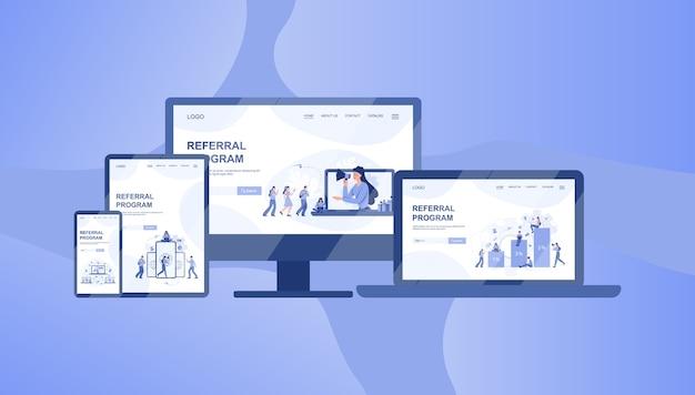 Banner del programma di riferimento su diversi dispositivi, computer, laptop, tablet e smartphone. referral marketing e partnership commerciale, strategia e sviluppo del programma di referral.