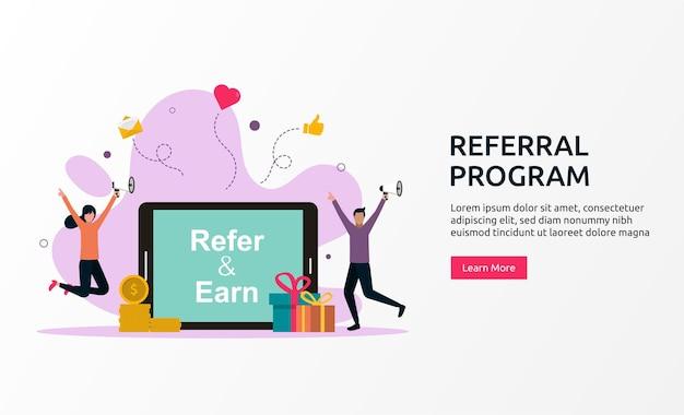 Concetto di programma di riferimento, partnership di affiliazione, illustrazione vettoriale di marketing di rete.
