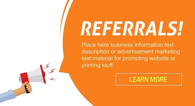 Banner web pubblicitario di marketing del programma referral con annuncio di informazioni sull'altoparlante