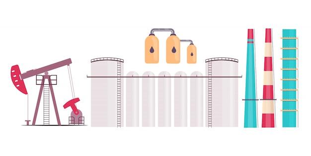 Set di oggetti piatti pianta raffineria