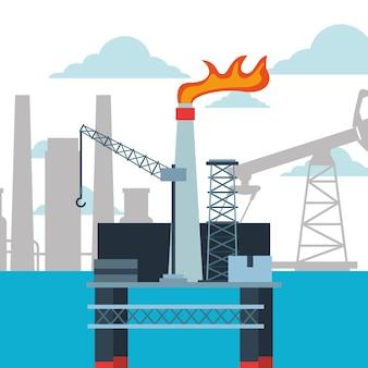 Industria petrolifera di raffineria e piattaforma petrolifera