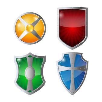 Riflessione lucida verde, arancio, blu, giallo scudi rossi con emblemi. set di protezione scudi, sicurezza web, concetto di logotipo antivirus. illustrazione della difesa della politica di salvaguardia