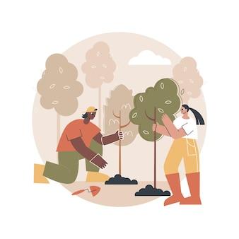 Illustrazione di riforestazione
