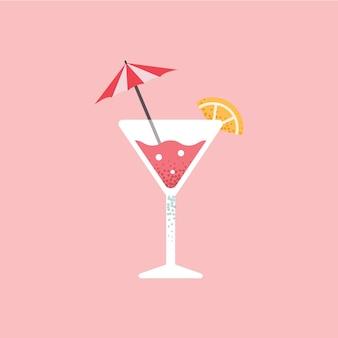 Succo di frutta rinfrescante. cocktail. illustrazioni vettoriali piatte