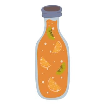 Limonata rinfrescante in bottiglia con fette di kiwi e arancia. stile cartone animato.