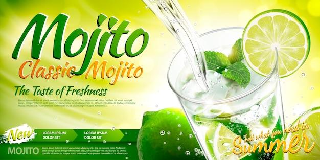 Rinfrescanti annunci di mojito con bevanda che versa in una tazza di vetro, elementi di lime e menta