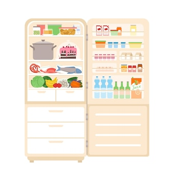 Frigo frigorifero pieno di cibo, con porta aperta, all'interno di attrezzatura per la cucina di casa
