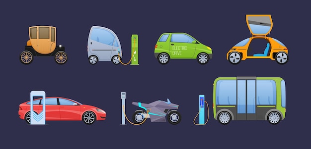 Rifornimento di elettricità e benzina in coda di automobili al set di stazioni. servizio di rifornimento carburante