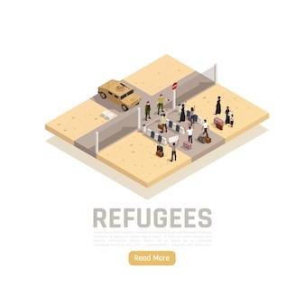 Rifugiati richiedenti asilo migranti attraversamento del confine tra la zona di guerra del conflitto e la composizione isometrica dell'area sicura