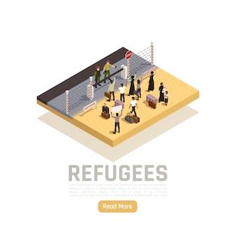 Composizione isometrica dei rifugiati con immigrati e poliziotti in piedi su diversi lati del confine di stato