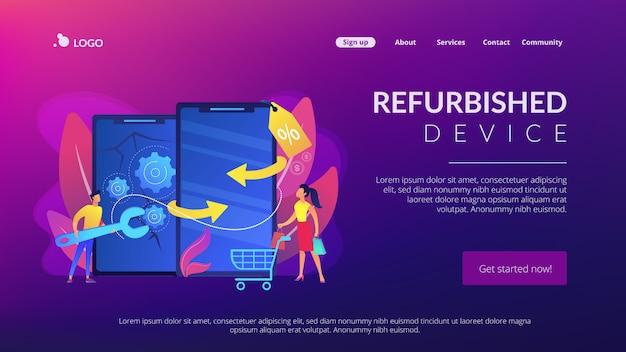 Pagina di destinazione del concetto di dispositivo rinnovato.