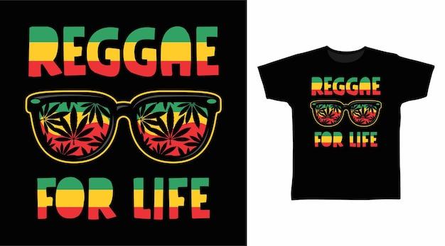 Reggae for life tipografia t shirt design