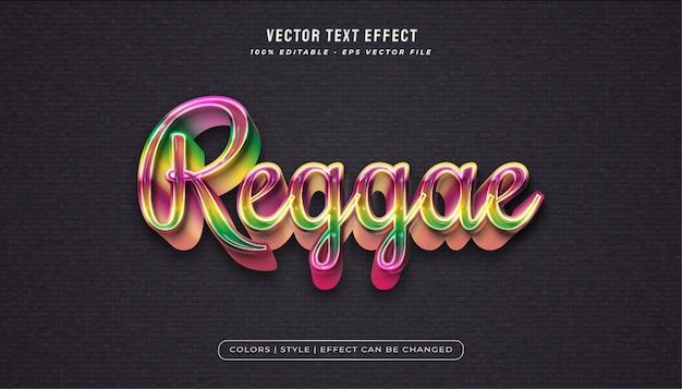 Stile di testo reggae con effetto texture plastica lucida