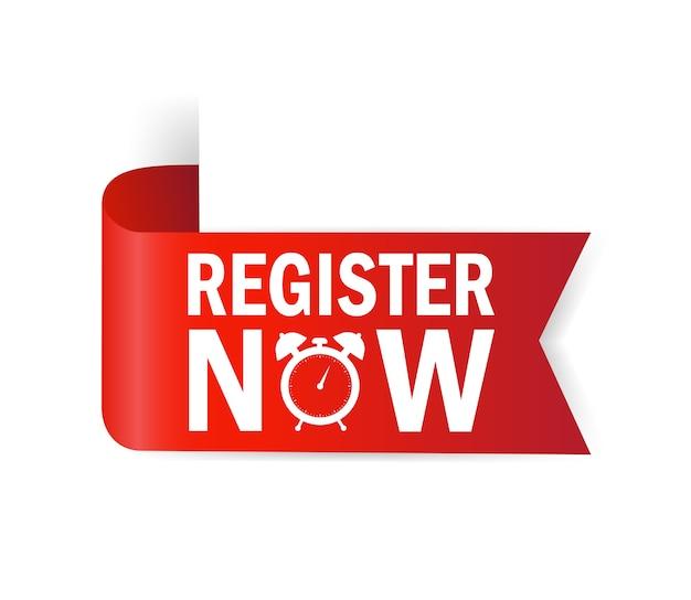 Registrati ora per il banner. banner di nastro. modello di promozione moderna. banner del sito web di vendita.