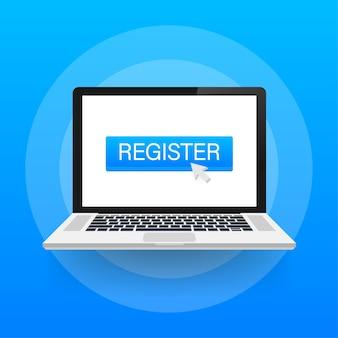 Registrati ora con il pulsante cursore. icona di internet. icona del clic del puntatore.