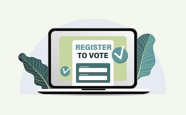 Registrati online per votare. Vettore Premium