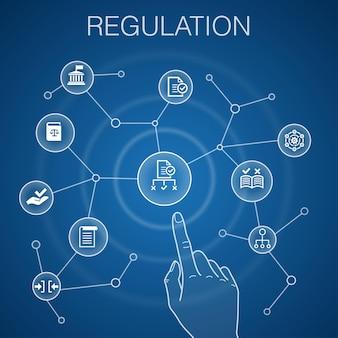 Concetto di regolamento, conformità con sfondo blu, standard, linee guida, icone delle regole