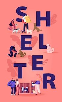 Centro di riabilitazione o adozione per il concetto di animali domestici randagi. cartoon illustrazione piatta